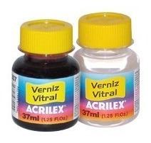 Tinta Verniz Vitral 37ml Aerógrafo Pincel 25 Cores +2pincéis