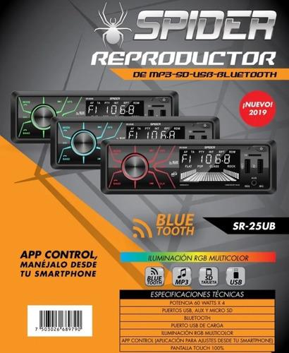 Super Radio Doble Usb Sd Carga Bluetooth Touch 7 Colores App