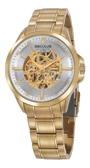 Relógio Masculino Seculus Dourado Automático 20754gpsvda2 Nf