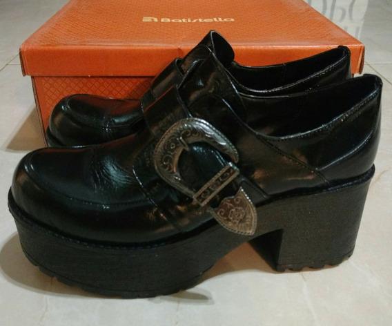 Zapatos Abotinados Plataforma Charol Negro Mujer 37