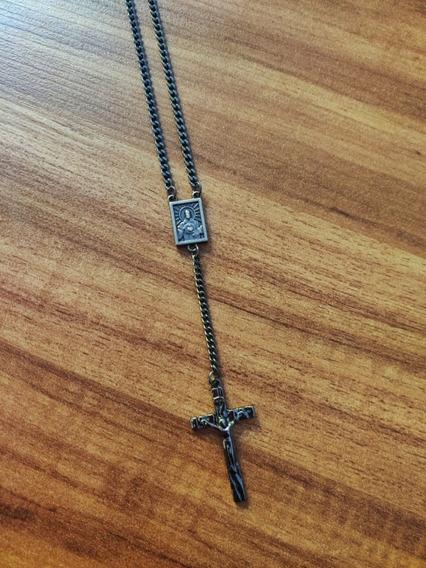 Corrente Colar Masculino Crucifixo Tipo Terço Long