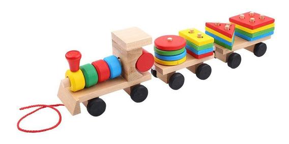 Acogedor Tren De Apilamiento De Madera Bloques De Camiones B
