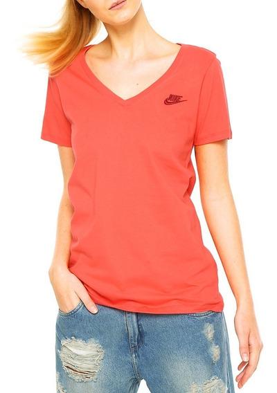 Camiseta Nike Sportswear Tee Neck Algodão Coral 826580-850