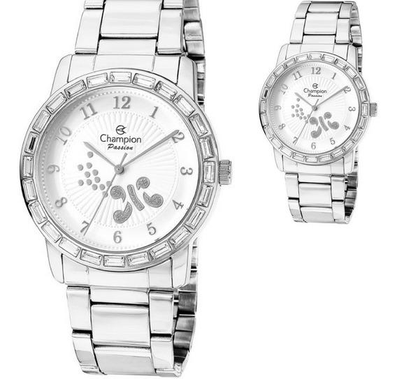 Relógio Feminino Champion Prateado Strass Original Cn29356q