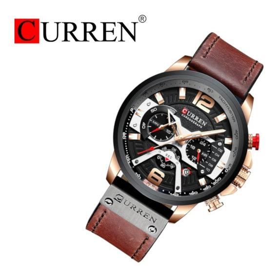Relógio Masculino Curren 8329 Casual Couro Frete Grátis 12 X