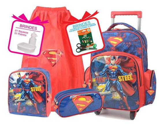 Kit Mochila Superman Com Lancheira E Estojo Completo