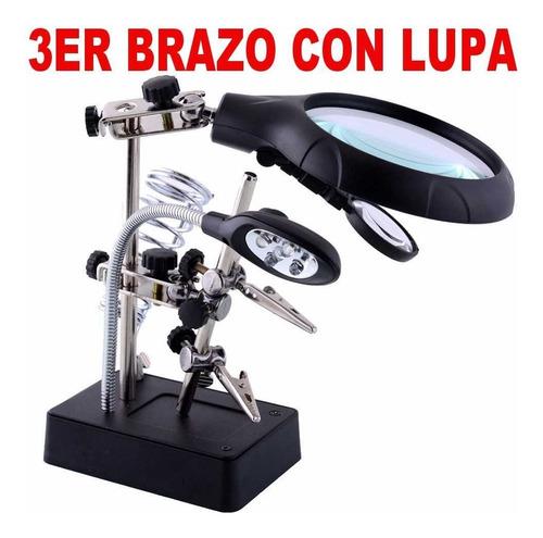 3er Brazo Con Lupa Luz Soldar Tecnico Profesional