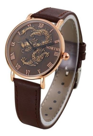 Relógio Dragão Oriental Pulseira Marrom 4cm