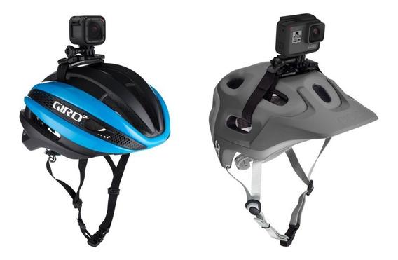 Suporte Gopro Celular P/ Capacete Vazado + Faixa Bike Moto