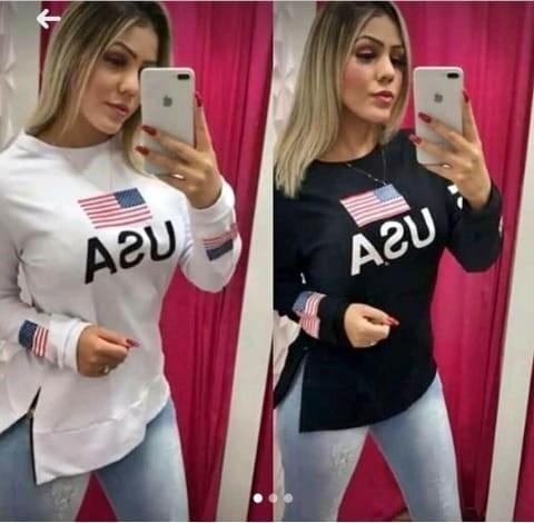 Blusa Moletinho Usa Feminino Com Zíper Preto Branco Rosa Bb