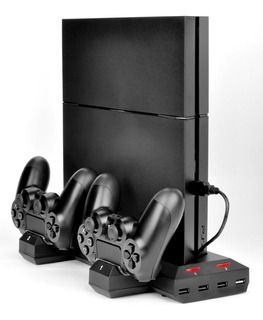 Cargador Para 2 Joystick Sony Ps4 + Base Apoyo Vertical Consola + 3 Usb Para Otros Dispositivos - Ideal Modelo Cuh-1xxx