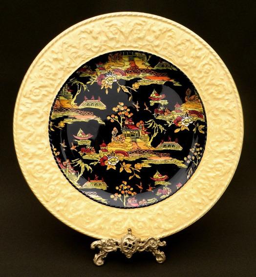 Plato Decorativo Loza Inglesa Royal Winton * Pintado A Mano