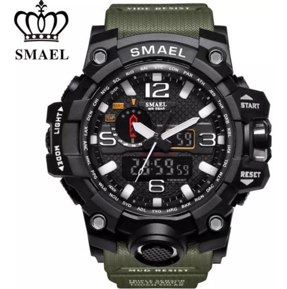 Relogio Masculino Militar Prova D Agua Esportivo Pulso Quartzo Moda Digital Homens Luxo Moderno Top Premium Smael 1545