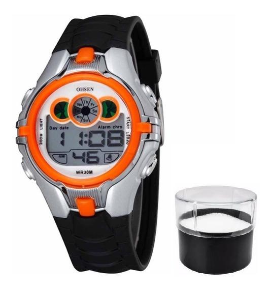 Relógio Infantil Original Ohsen Modelo 0739 Laranja