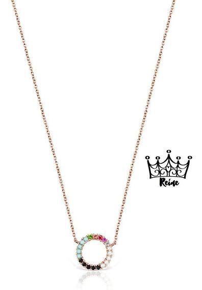 Reine Collar Straight Disco De Oro Vermeil Rosa Con Gemas