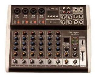 Consola Mixer Potenciada Parquer 8 Canales 125w Por Lado