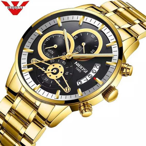 6 Unidades Relógio Masculino Nibosi Dourado