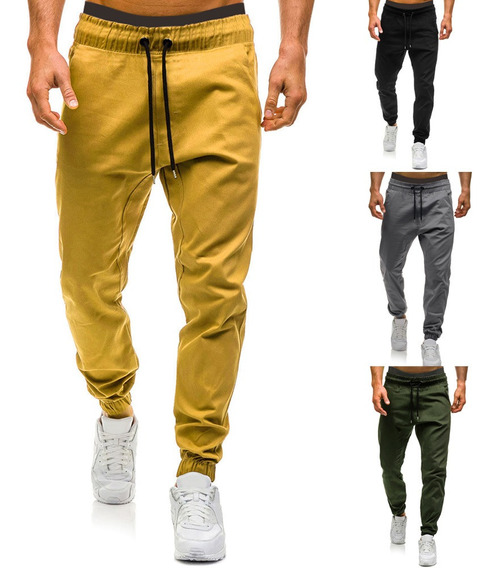 Pantalones Casuales Jogger Con Cordón Elástico En La Cintu