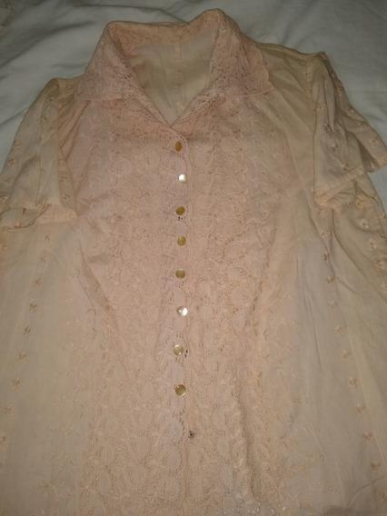 Camisa De Broderi Algodon Beige M.corta T M --hermosa