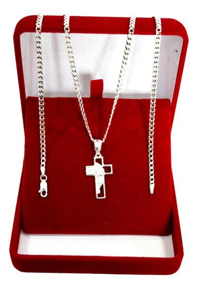 Corrente Escama De Peixe Prata 925 Pingente Crucifixo 70cm