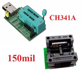 Gravador De Eprom Ch341a + Adaptador Soic8 Para Dip8 150mil