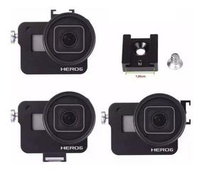Case Proteção Frame Alumínio +lente Uv Gopro Hero5 6 7 Black