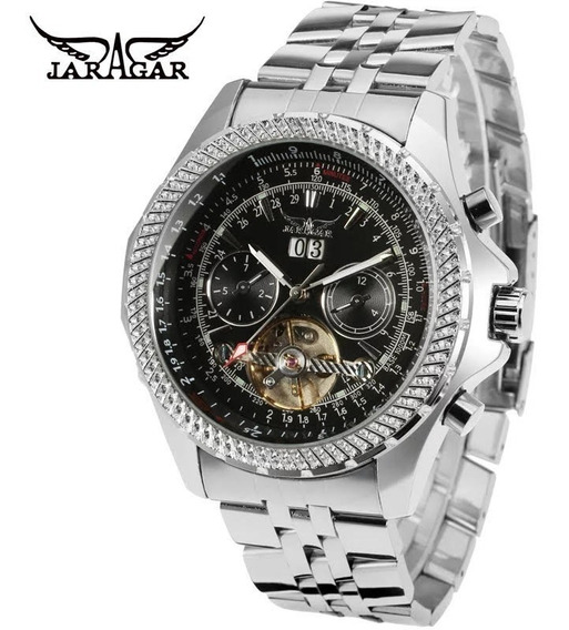 Relógio Masculino Jaragar Automático Importado Multi-funcional Elegante Em Aço Inoxidável Top Luxo Na Caixa