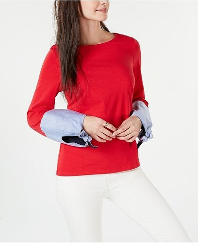 Tommy Hilfiger Top/remera C/puños Anudados, Mujer, Talle M