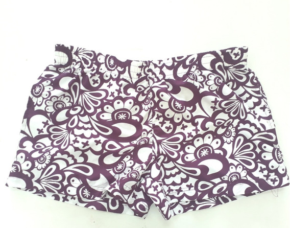 Shorts Tactel Feminino Roxo Com Estampa Cast