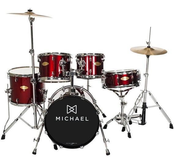 Bateria Acústica Michael Classic Wr Bumbo 22 C/ Banco Pratos