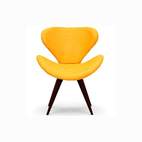 Poltrona Decorativa Swan Amarela - Pé Palito