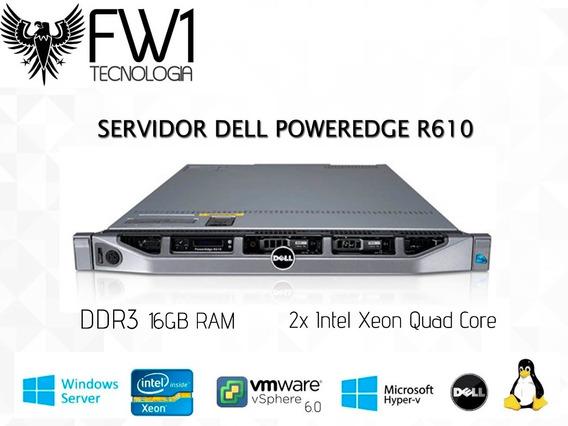 R610 2 Processadores Quad Core E5630 16gb 300gb Dell Rack 1u