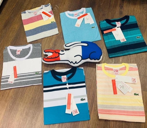 10 Camiseta Lacoste Listrada Peruama, Coleção Nova