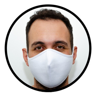 3x Máscaras De Pano Reutilizável Dupla Camada - Branco - F