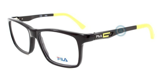 Lentes Fila 9189k 0700 Polished Black Yellow Infantil Niño