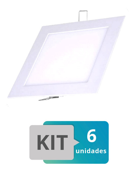 Kit 6 Painel Plafon Led Embutir Slim Quadrado 18w Branco Que