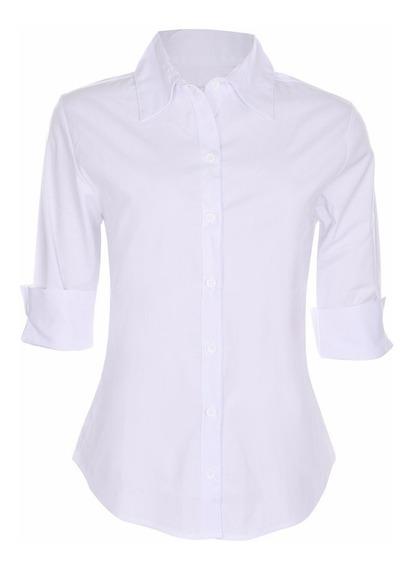 Camisete Camisa Feminino Social Branco Manga 3/4 Promoção