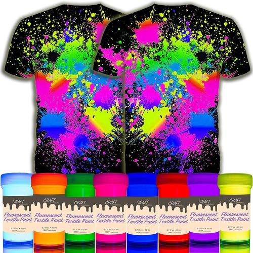 Imagen 1 de 3 de Pïntura Para Tela Uv Brilla Oscuridad Neon 8 Colores Textil