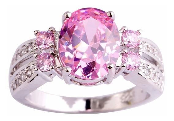 Joia Anel De Luxo Banhado A Prata Rosa De Cristal Elegante