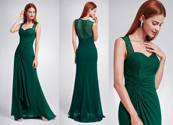 Vestido Verde Oscuro Largo Fiesta Madrina Egreso Jolie Robe