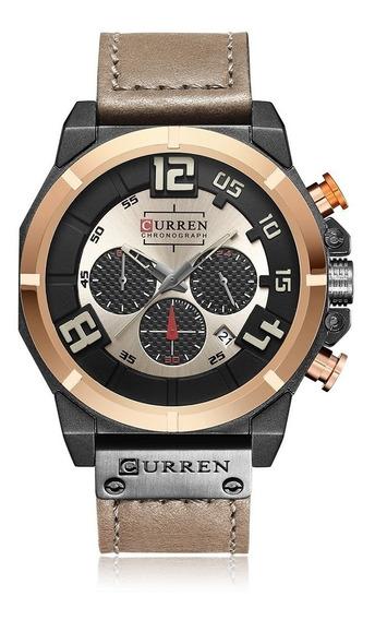 Curren 8287 Moda Esport Couro Genuíno Homens Relógio Militar