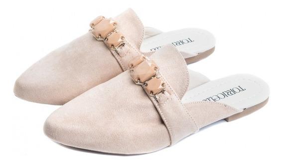 Sapato Mule Torricella Camurça Bege Lindo Design Afivelado