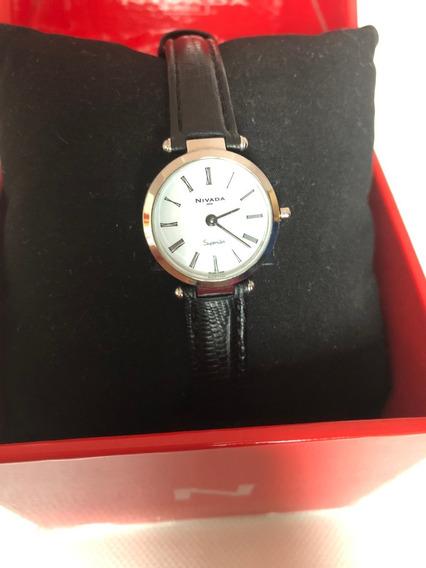 Reloj Nivada Superslim Modelo Np3329l Piel