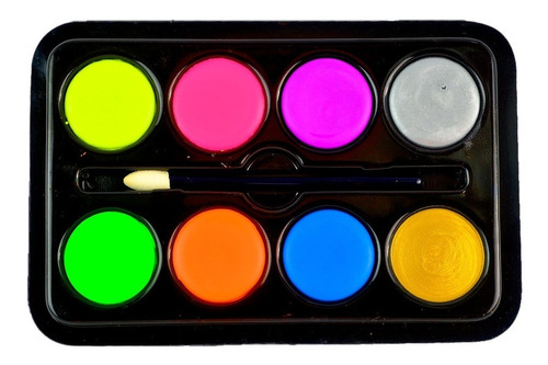 Maquillaje Artistico Pintura Neon Paleta X8 Tonos  32grs