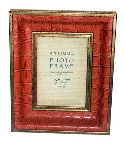 Porta Retrato Pu Laranja Croco 13x18 29x24x4cm