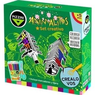 Set Creativo Animalitos Pizzini J3001 Para Colorear