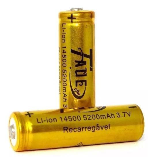 02 Baterias Recarregável Li-ion 14500mah 3.7v 5200mah Taue