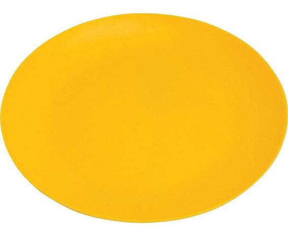 Prato De Melamina Sobremesa 20cm Amarelo Fosco