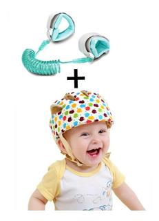 Casco De Seguridad Ajustable Forrado En Algodón Para Bebé O Niño + 1 Arnés Correa Muñequera. Desde Los 8 Meses A 3 Años