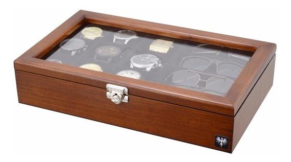 Porta Caixa Estojo Para 9 Relógios E 4 Óculos Madeira Maciça